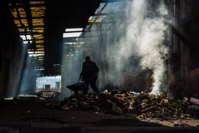 <p><strong>Refugees burning toxic rubbish to keep warm in a derelict railway warehouse</strong><br />Central train station, Belgrade, Serbia 2017</p>
