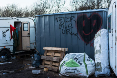 <p><strong>Never Give Up</strong><br />The 'Jungle' refugee camp, Calais, France 2016</p>