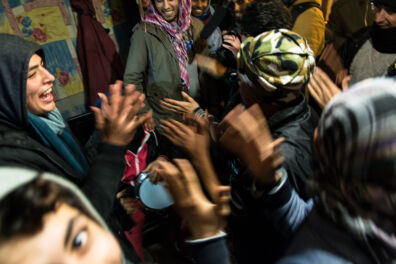 <p><strong>Dancing</strong><br />The 'Jungle' refugee camp, Calais, France 2015</p>