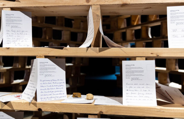 <p>Visitors are invited to leave a short written message in remembrance and as a symbol of hope for the future.</p>