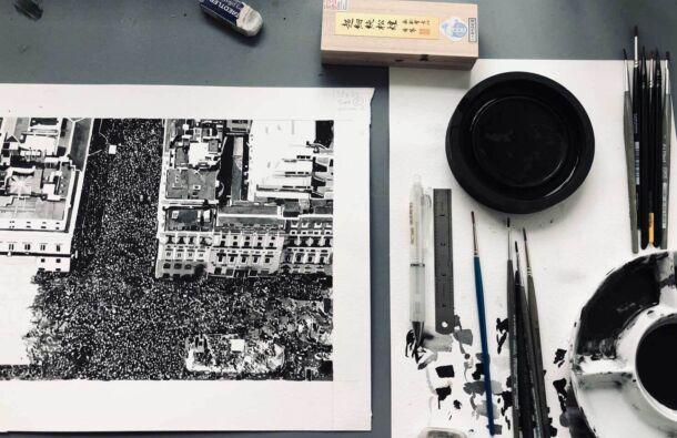 <p>Work in progress on a drawing in Joy Gerrard's studio</p>