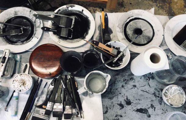 <p>Painting in progress in Joy Gerrard's studio</p>
