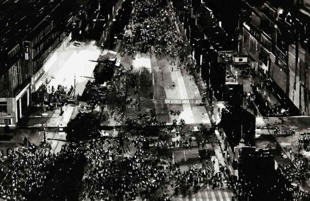 <p><em>Protest Crowd, (Gilet Jaune Protest 2, Night, Paris, December 2018) 2020.</em> Ink on paper mounted on aluminium. White Box Frame. Dimensions 65 x 50cm ( Photography. Ros Kavanagh)</p>