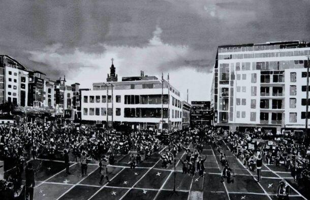 <p><em>Protest Crowd, ( Black Lives Matter, Belfast, 6th June 2020)</em></p> <p>Ink on paper. 40cm x 58 cm. (2021) Photography; Simon Mills</p>