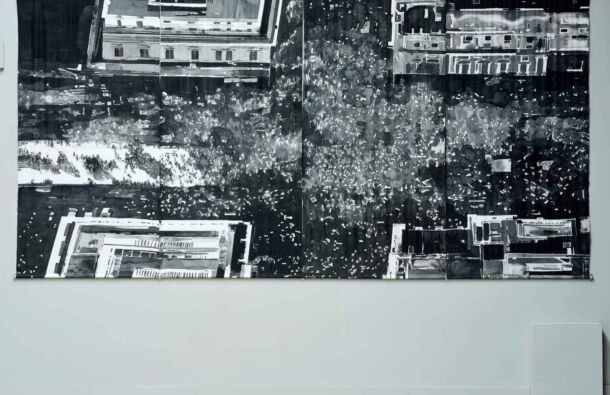 <p>Installation view of<em> Brexit Protest, London (Cross/Final)</em></p> <p>4 x panels. Handpainted Cotton/Silk panels and hanging system. 460 x 250cm 2021</p>