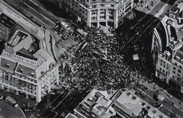 <p><em>Protest Crowd, London, Version 3, Circle (Extinction Rebellion, Oxford Circus, October 2019)</em> Ink on paper. 65 x 50cm (2020) Photography Simon Mills)</p>