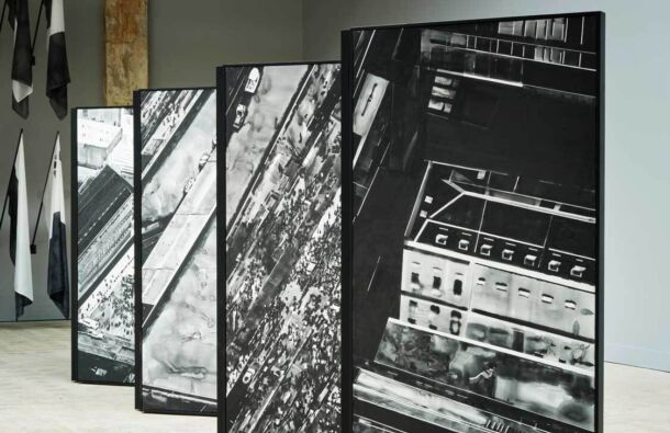 <p>Installation view of Barrier. <em>Protest and Vigil, London (March 2021, Westminster).</em> Japanese ink on linen, and Folding Screen Frame. 800 x 200cm. (2021)</p>