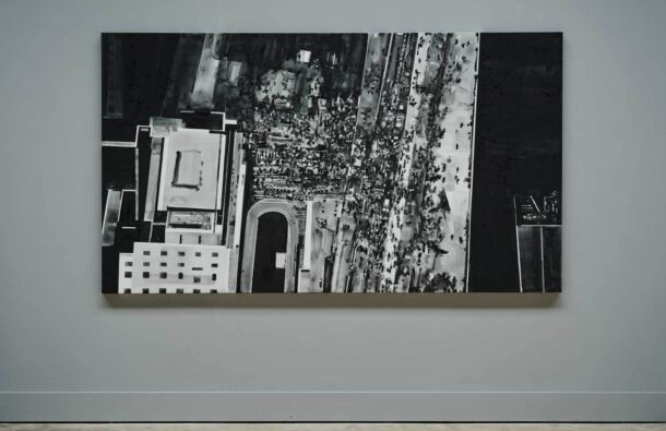 <p>Installation view of Precarious Freedom at the Festival Gallery; 1-18 September 2021. Vigil/Protest ( London/2021. Version 2)</p> <p>Ink on canvas. 230 x 130cm</p>