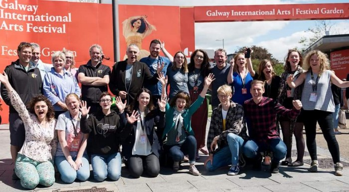 Volunteer coordinator Anika Massman (front row, second from left) and the rest of the GIAF18 team in the Festival Garden in Eyre Square.