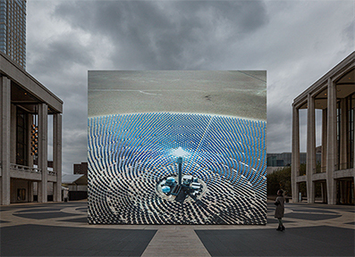 Solar Reserve (Tonopah, Nevada) 2014 by John Gerrard is a computer simulation of an actual power plant known as a solar thermal power tower.